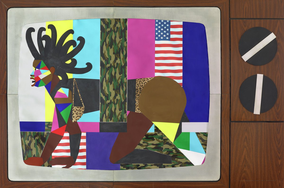 Black female figure crawling across the screen of a large analog television, indicated by the brown, paneled frame and two large, black dials on the right hand side. The background is comprised of long strips of colored paper – white, yellow, light blue, green army camouflage, fuchsia, stars and stripes, and cobalt blue – that are arranged in the form of the SMPTE (The Society of Motion Picture and Television Engineers) color bars test pattern. Though the central figure crawls across this pattern, she also appears to emerge from it as the long piece of camouflage paper dissects her body at the waist. She has wild, black, tentacles for hair. Her face is rendered with several small pieces of colored paper – red, pink, yellow, blue, green, and white. The outside of her left arm, as well as the inside of her right arm are constructed in a similar manner, made out of various sized colored triangular paper. She also wears a leopard print bikini.