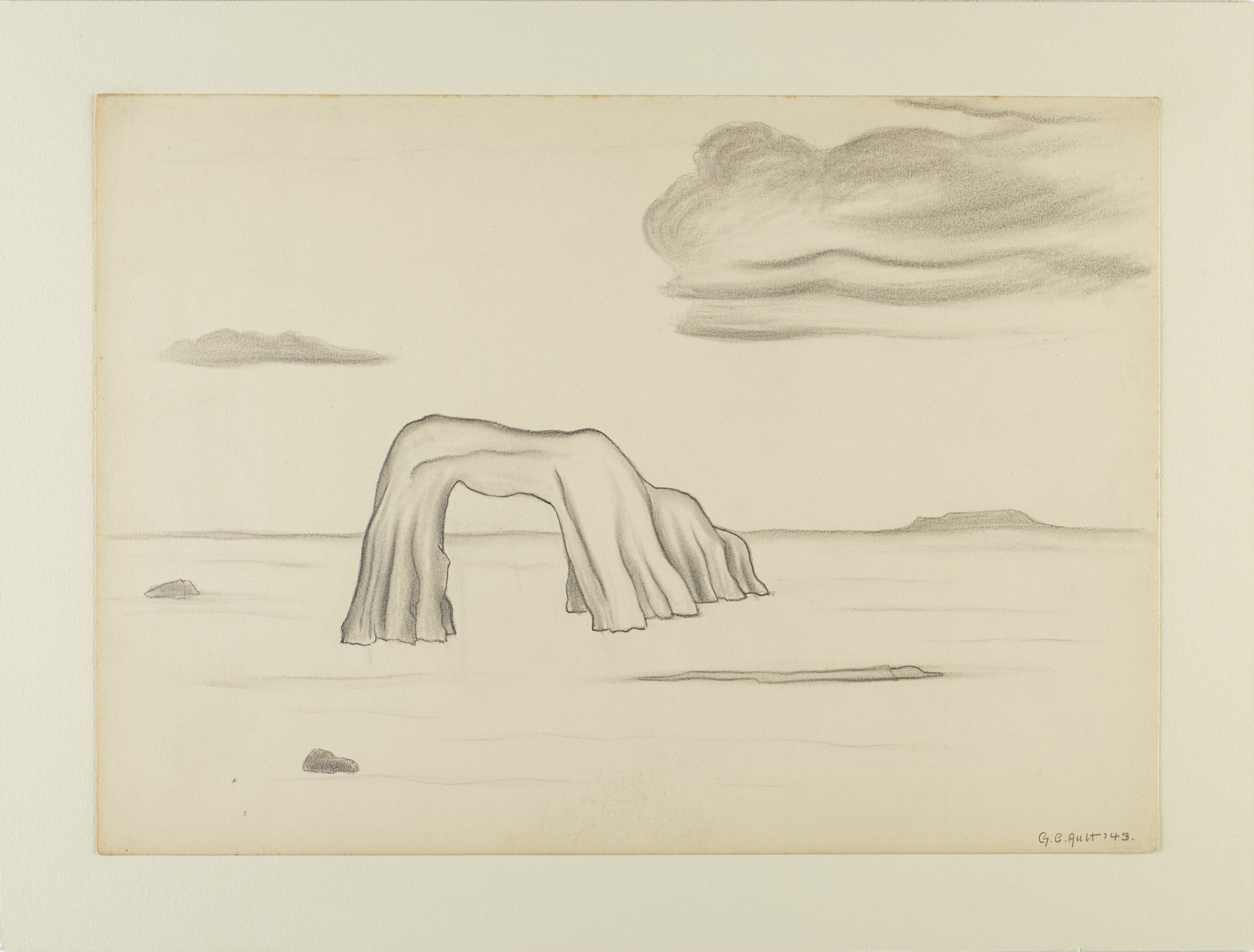 This drawing represents a rock arch in an otherwise flat, empty landscape in graphite on paper. Above a distant, flat horizon float two clouds, one small at the left of the sheet and one larger at the right of the sheet.