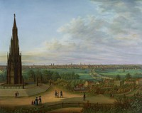 Large, heavy porcelain plaque painted in bright enamel colors with a view of the city of Berlin, Germany, as seen from Victoria Park and the 65-foot cast-iron Kreuzberg Monument, designed by Karl Friedrich Schinkel and erected in 1821 to commemorate the Wars of Liberation fought against Napoleon 1813-1815.  In the foreground left is the Monument set among designated footpaths occupied by small groups of people, in the middle ground are forested areas interspersed with small houses and buildings, as well as the road leading from Tempelhof to the Hallesches Tor, and in the background is the skyline of Berlin with from left Friedrichstadt with the towers of the Französischer Dom and the Deutscher Dom; the Schauspielhaus on the Gendarmenmarkt; the dome of the Hedwigskirche; the Sophienkirche; the Friedrichwerdersche Kirche; the Berliner Dom; the Stadtschloss; the Marienkirche; the new spire of the Petrikirche completed in 1853; and the tower of the Jerusalemer Kirche, with light blue sky streaked with lilac and fluffy clouds in shades of gray and white, the edge of the plaque with gilt border, the plaque set within a large gilt frame highlighted with stylized anthemion motifs around the edge.