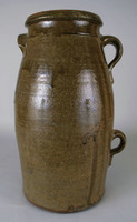 Five-gallon churn with with ear-handle on shoulder and two strap-handles, one above the other, on opposite side