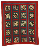Hands All Around quilt, geometric square, red and blue stripping