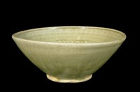 Bowl with molded floral decoration beneath a molded chrysanthemum-petal band with chrysanthemums in well.