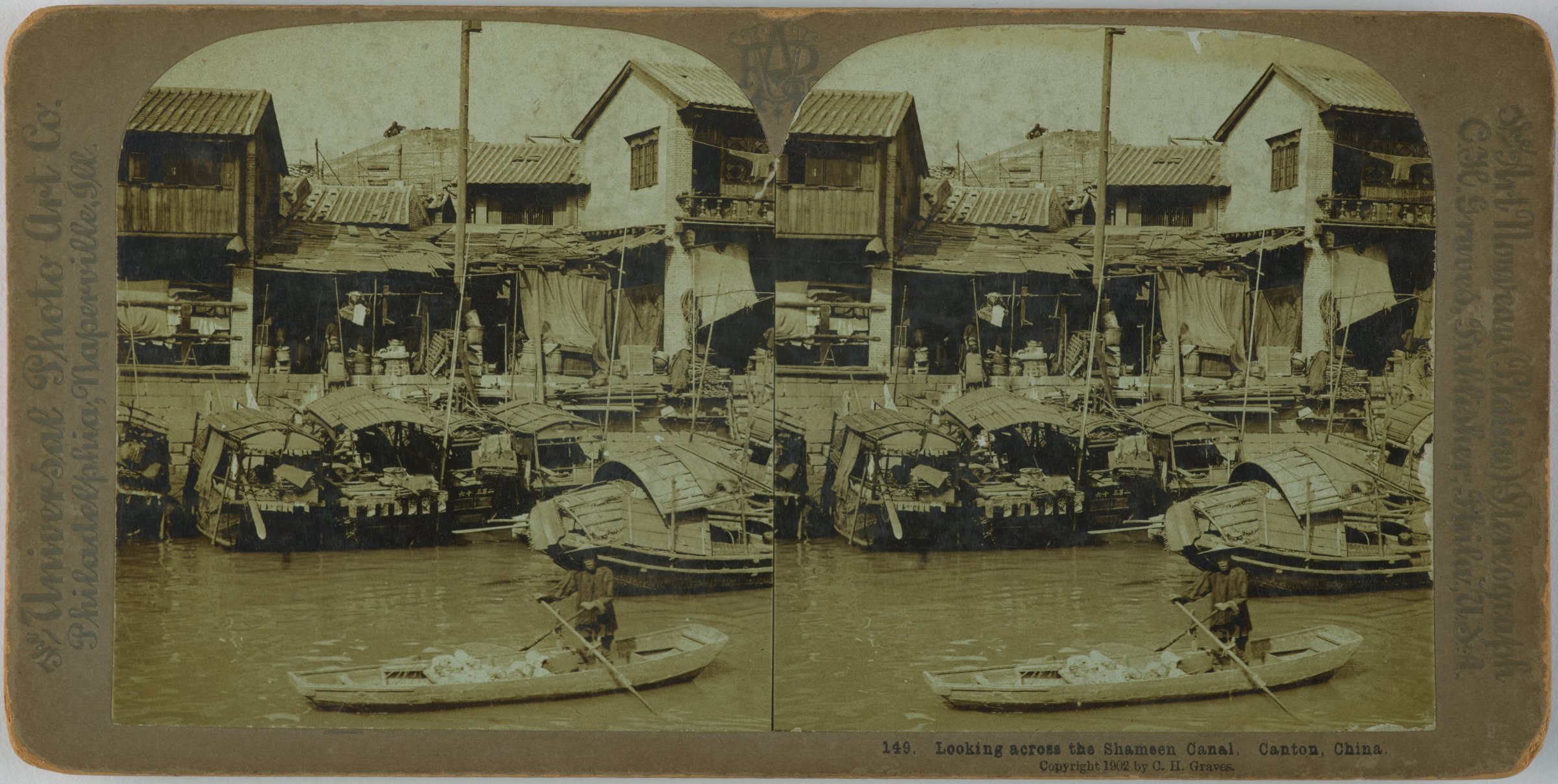 Looking across the Shameen Canal, Canton, China, The Universal Photo Art Co., gelatin silver prints mounted on card