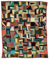 Crazy quilt, red binding and backing