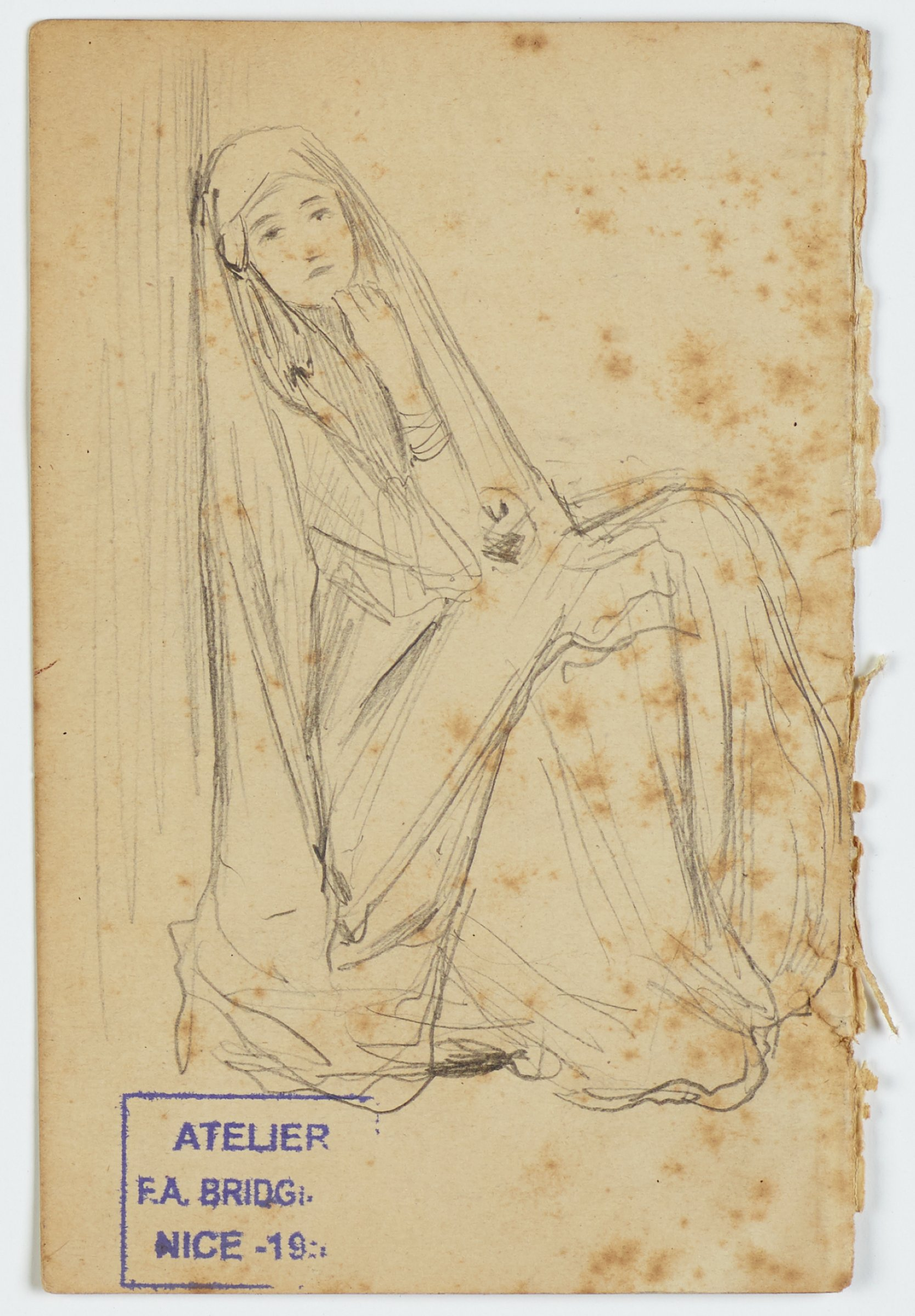 """On a page removed from George Romney & Co.'s """"Artistic Almanac"""" for 1887, this pencil sketch represents a woman draped in cloth with her head covered leaning against a wall."""