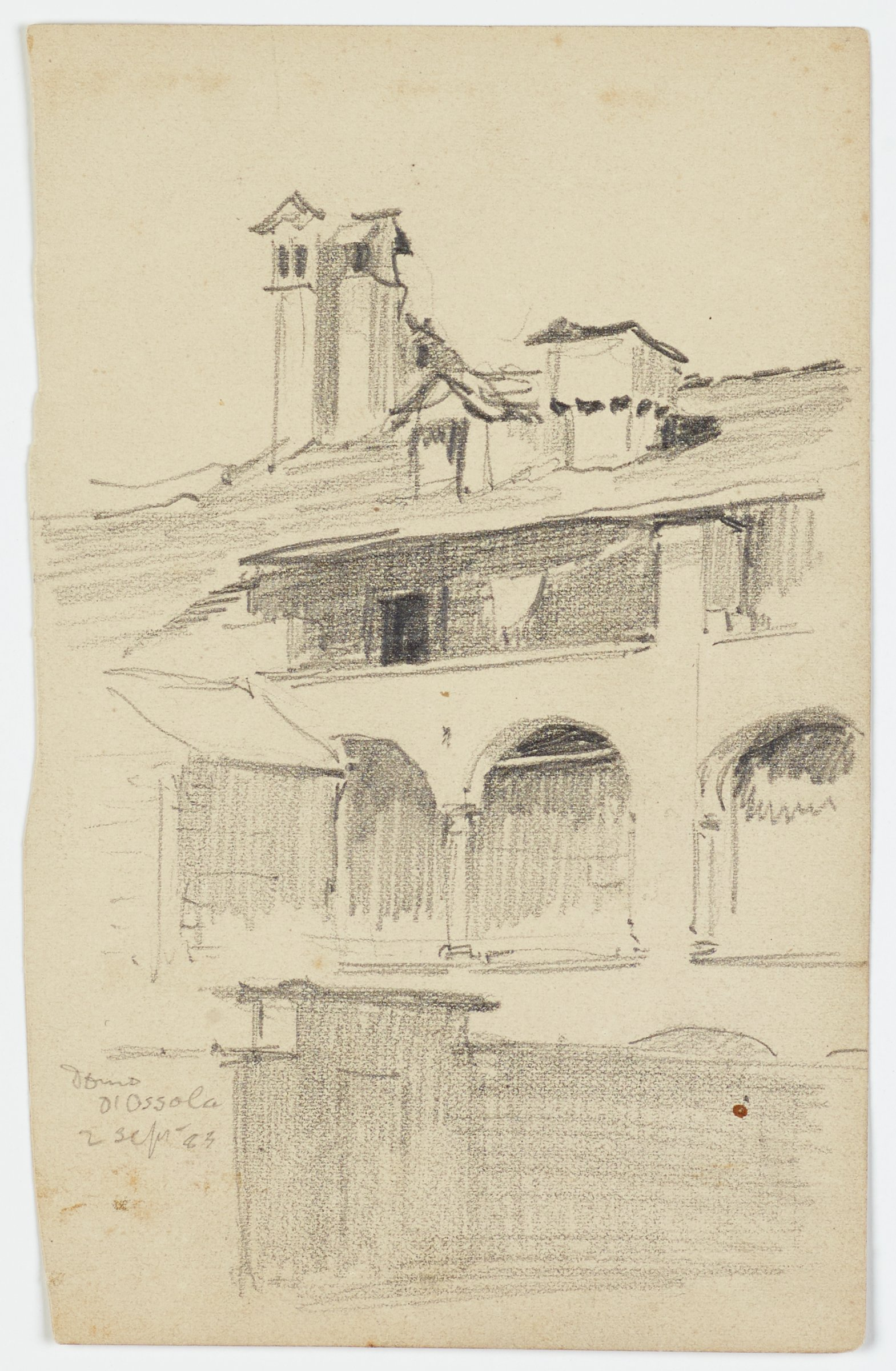 This graphite drawing shows a three-story building with three towers on the roof. The second floor of the building is characterized by romanesque arches. In front of the tall building is another building of a smaller scale that partially obscures the view of the larger building.
