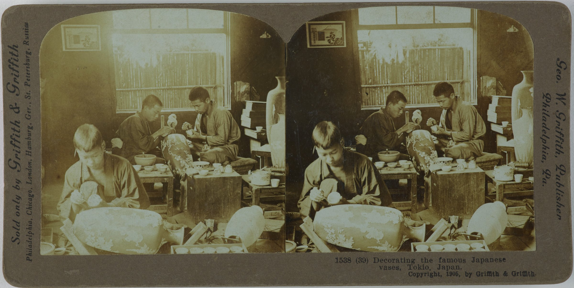 Decorating the famous Japanese vases, Tokio, Japan, Griffith & Griffith, gelatin silver prints mounted on card