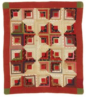 Log Cabin/Sunshine and Shadows quilt, red floral borders and green border corners