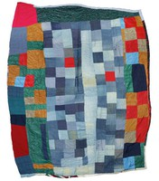 Two-sided random blocks quilt in denims and other fabrics.