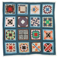 """Quilt, """"Everybody"""" or """"Sampler"""" pattern, Nora Ezell, textiles"""