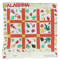 Alabama trees quilt, made by Nora Ezell with senior citizens of Panola, Sumter County, Alabama