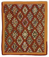 Mosaic quilt, makers were all teachers in Dothan public school, tobacco brown and pumpkin yellow