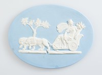 Oval blue jasper medallion with white relief of Cybele in a chariot drawn by lions, in ebony frame