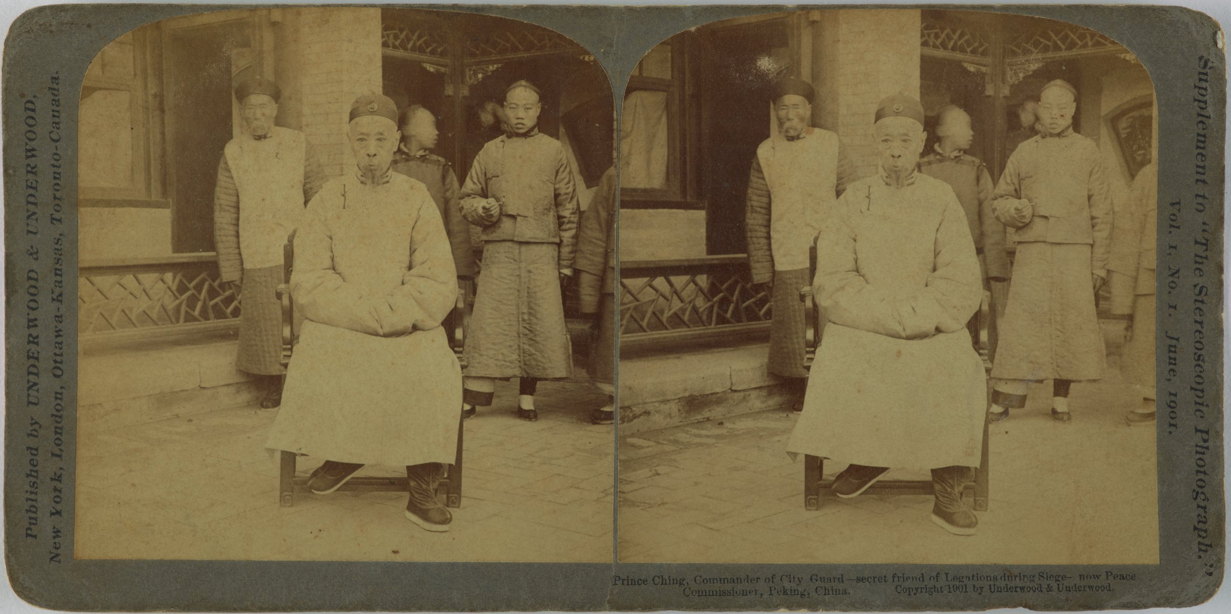 Prince Ching, Commander of City Guard - Secret Friend of Legations during Siege, now Peace Commissioner, Peking, China, Underwood & Underwood Publishers, gelatin silver prints mounted on card