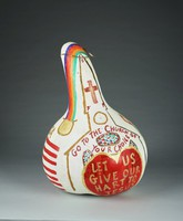 """White gourd with Flags, rainbow with pots of gold, and text """"There is a rainbow.."""""""