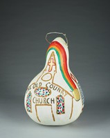 White gourd with Church, Flags, and rainbow with pot of gold.