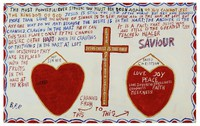 Painting with text, cross, and two hearts.