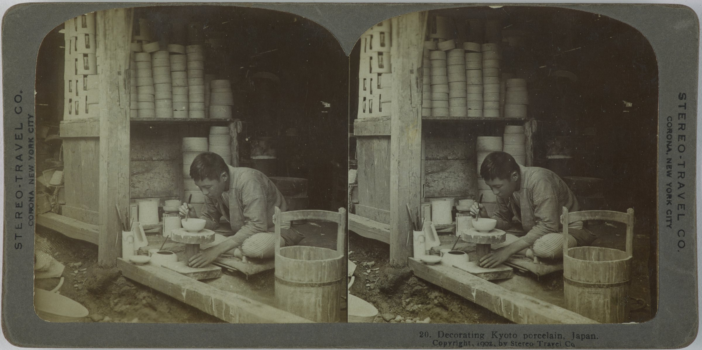 Decorating Kyoto Porcelain, Japan, Stereo-Travel Co., gelatin silver prints mounted on card