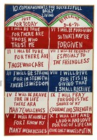 """Untitled (""""Ten Commandments for Successful Daily Living""""), Reverend Benjamin Franklin Perkins, acrylic on canvas"""