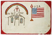 Two-sided painting, text on one side, Churd and Flag on other.