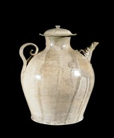 Ewer with lobed cover and grooved knob, garuda spout, spiral handle with carved bo leaf and two applied rosettes.