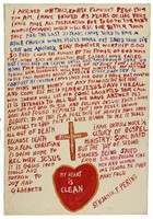 """Untitled (Last Wishes:  """"I arrived on this earth...""""), Reverend Benjamin Franklin Perkins, acrylic on canvas"""