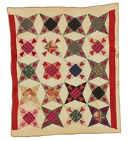 Four-Pointed Star quilt, two red borders