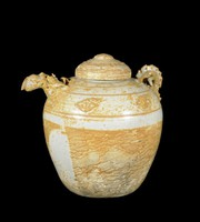 Ewer with domed cover, lotus-petal collar, dragon spout with handle in the shape of dragon's body, four applied cloud motifs between raised lines.