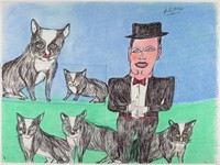 Man with black and white cats.