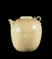 Melon Ewer with spout emerging from carved dragon mouth, ribbed handle.