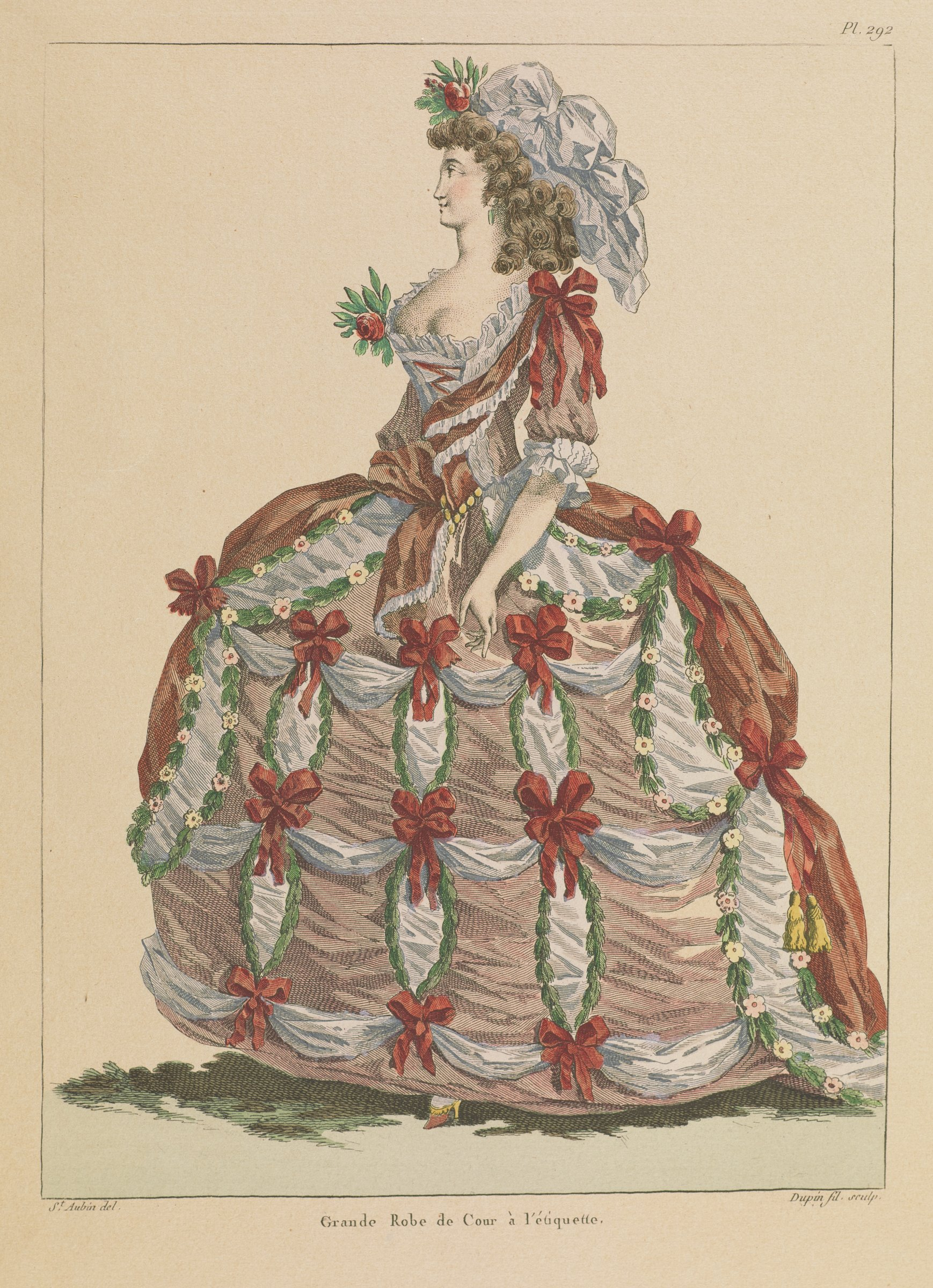 A woman in a dress with red bows and greenery stands facing slightly left.