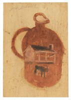 Untitled (Jug with Scene of House and Cow), Jimmy Lee Sudduth, paint and mud on wood board