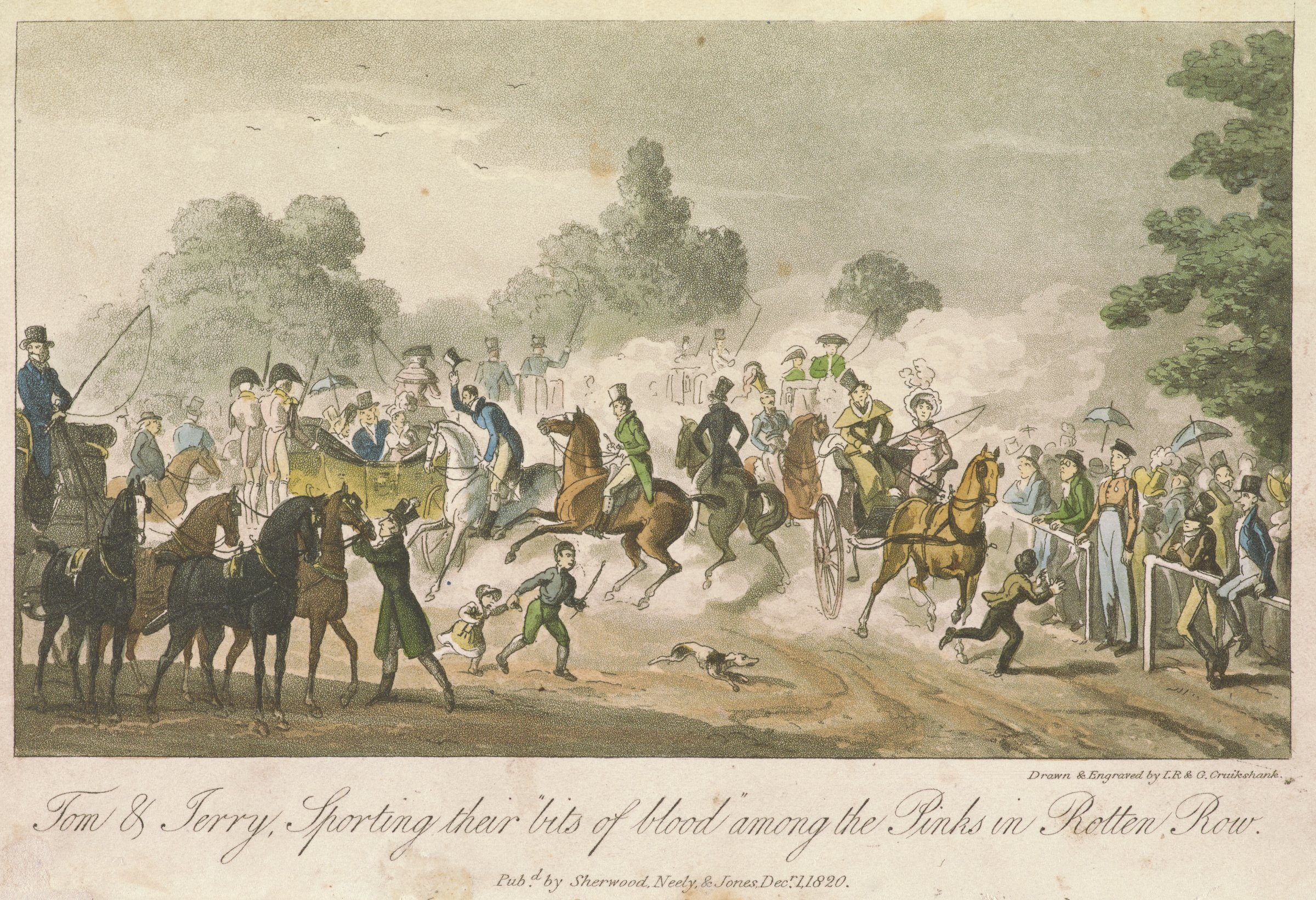 Chaotic scene of men on horseback and carriages with spectators on the right.
