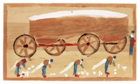 Untitled (Cotton Pickers and Brown Wagon), Jimmy Lee Sudduth, paint and mud on wood board