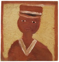 Untitled (Brown Bust Wearing Cap/Self-Portrait?), Jimmy Lee Sudduth, paint and mud on wood board