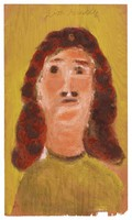 Untitled (Bust of Woman, Yellow Background), Jimmy Lee Sudduth, paint and mud on wood board