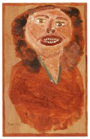 Untitled (Bust of Smiling Woman), Jimmy Lee Sudduth, paint and mud on wood board