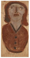 Untitled (Bust of Gray Woman), Jimmy Lee Sudduth, paint and mud on wood board
