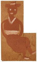 Untitled (Seated Brown Woman with Hands on Hips), Jimmy Lee Sudduth, paint and mud on wood board