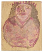 Untitled (Woman Wearing Crown), Jimmy Lee Sudduth, paint and mud on wood board