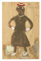 Untitled (Black Woman with Hands on Hips), Jimmy Lee Sudduth, paint and mud on wood board