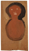Untitled (Bust of Woman with Black Hair, White Features), Jimmy Lee Sudduth, paint and mud on wood board