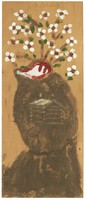 Untitled (Flowers in Vase), Jimmy Lee Sudduth, paint and mud on wood board