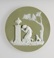 Round green jasper plaque with white relief scene of Charlotte at the tomb of Werther, Modelled by Hackwood after a design by Lady Templeton, Broken and repaired.