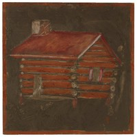 Untitled (Log Cabin with Red Roof), Jimmy Lee Sudduth, paint and mud on wood board