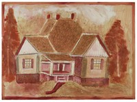 Untitled (Large House), Jimmy Lee Sudduth, paint and mud on wood board