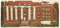 Untitled (Building with White Columns), Jimmy Lee Sudduth, paint and mud on wood board