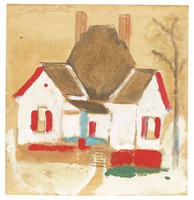 Untitled (White House with Red Porch and Shutters), Jimmy Lee Sudduth, paint and mud on wood board