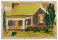 Untitled (House with Yellow Roof), Jimmy Lee Sudduth, paint and mud on wood board