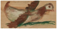 Untitled (Duck or Chicken?), Jimmy Lee Sudduth, paint and mud on wood board